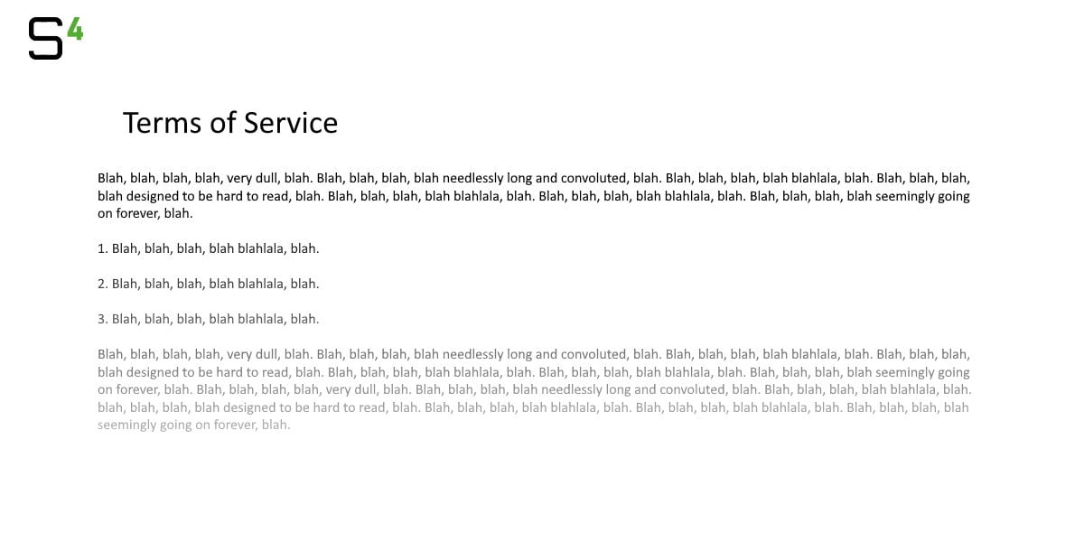 Terms of Service portrayed as meaningless blah text